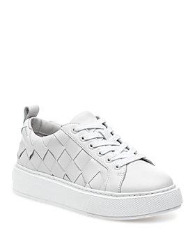 J/Slides - Women's DeDe Large Weave Leather Platform Sneakers