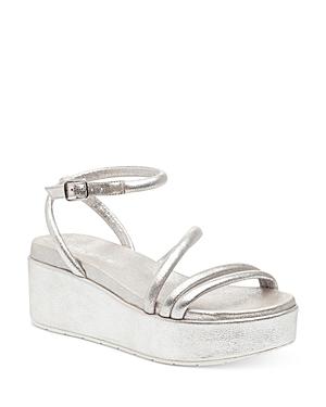 J/Slides Women's Quilt Ankle Strap Platform Wedge Sandals