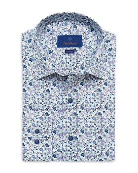 David Donahue - Blue and Tan Floral Print Fusion Shirt