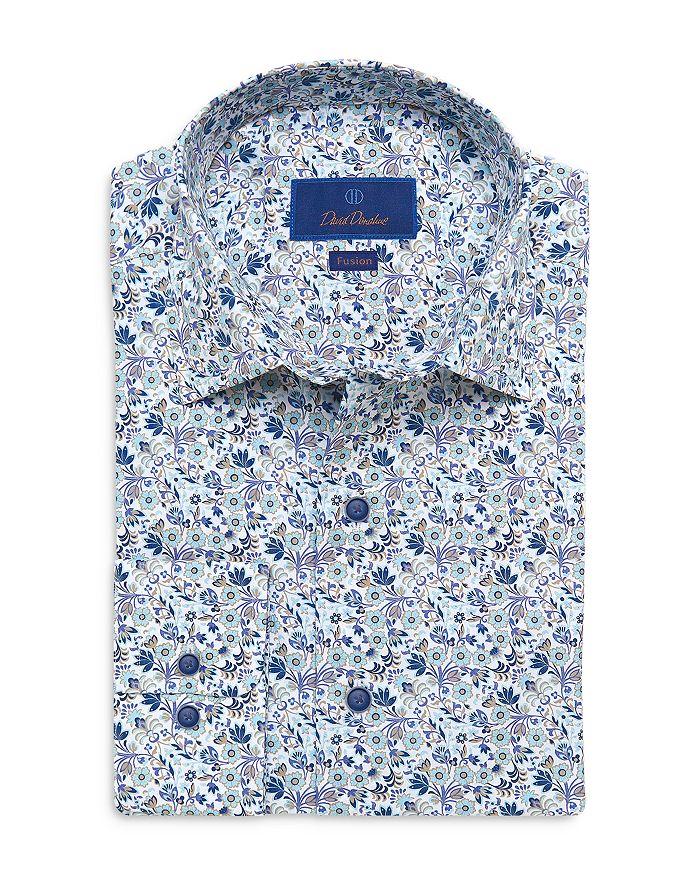 David Donahue Cottons BLUE AND TAN FLORAL PRINT FUSION SHIRT