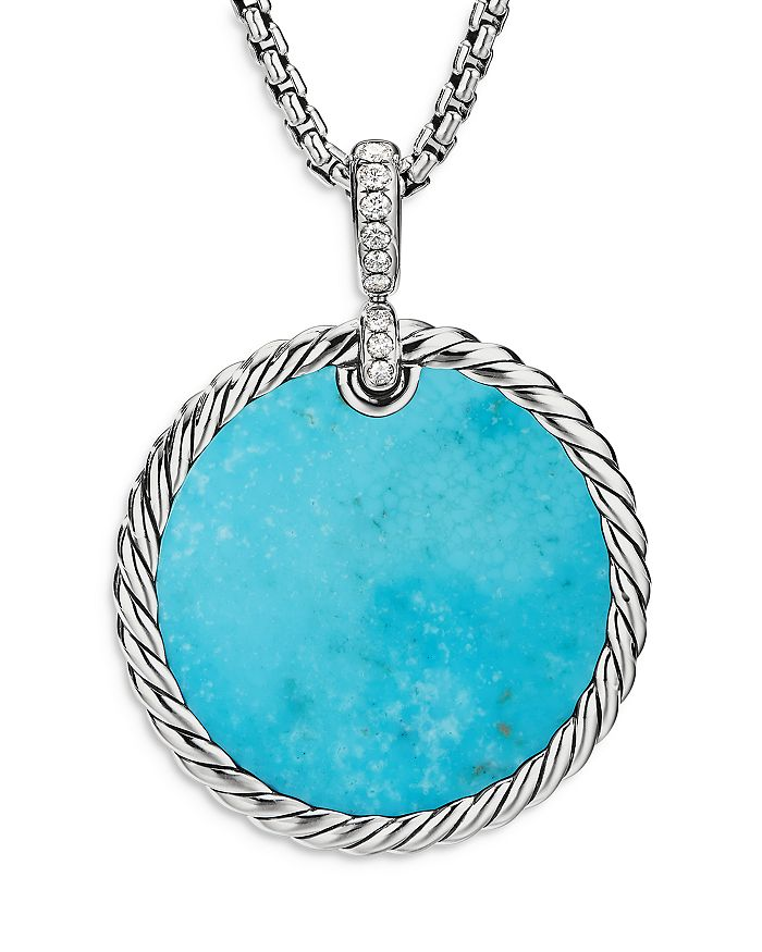 David Yurman - Sterling Silver DY Elements® Disc Pendant with Mother-of-Pearl, Turquoise & Diamonds