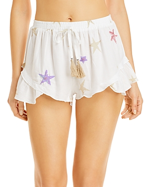 Surf Gypsy Star Print Embellished Shorts Swim Cover-Up
