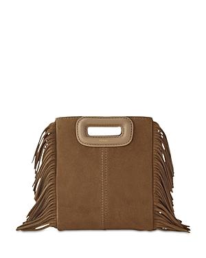 Maje M Mini Suede Bag In Camel