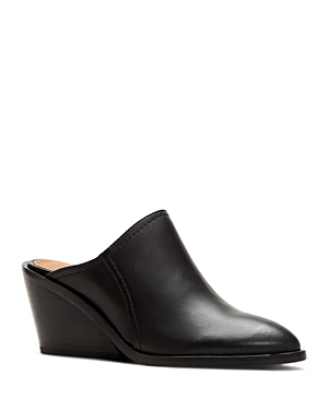 Frye WOMEN'S SERENA POINTED TOE LEATHER WEDGE MULES