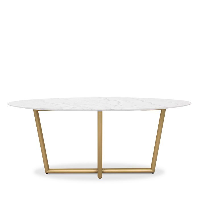 MITCHELL GOLD BOB WILLIAMS Furnitures MODERN OVAL MARBLE DINING TABLE, 76 X 48