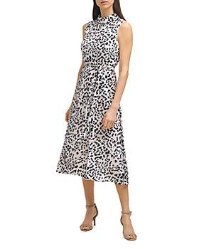 KARL LAGERFELD PARIS - Leopard Mock Neck Midi Dress