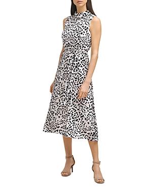 Leopard Mock Neck Midi Dress