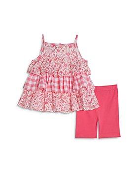 Pippa & Julie - Girls' Printed Ruffled Top and Capri Leggings Set - Baby