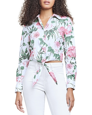 L Agence L'AGENCE GAIA FLORAL PRINT TIE FRONT BLOUSE