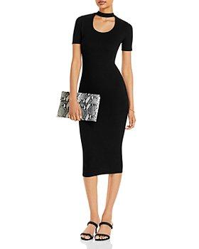 AQUA - Neck Cutout Midi Dress - 100% Exclusive