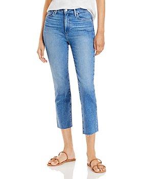 PAIGE - Cindy Crop Raw Hem Jeans in Sea Water Distressed - 100% Exclusive