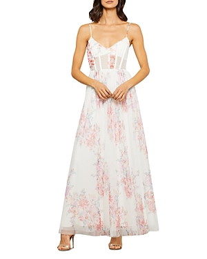 Floral Tulle Evening Gown