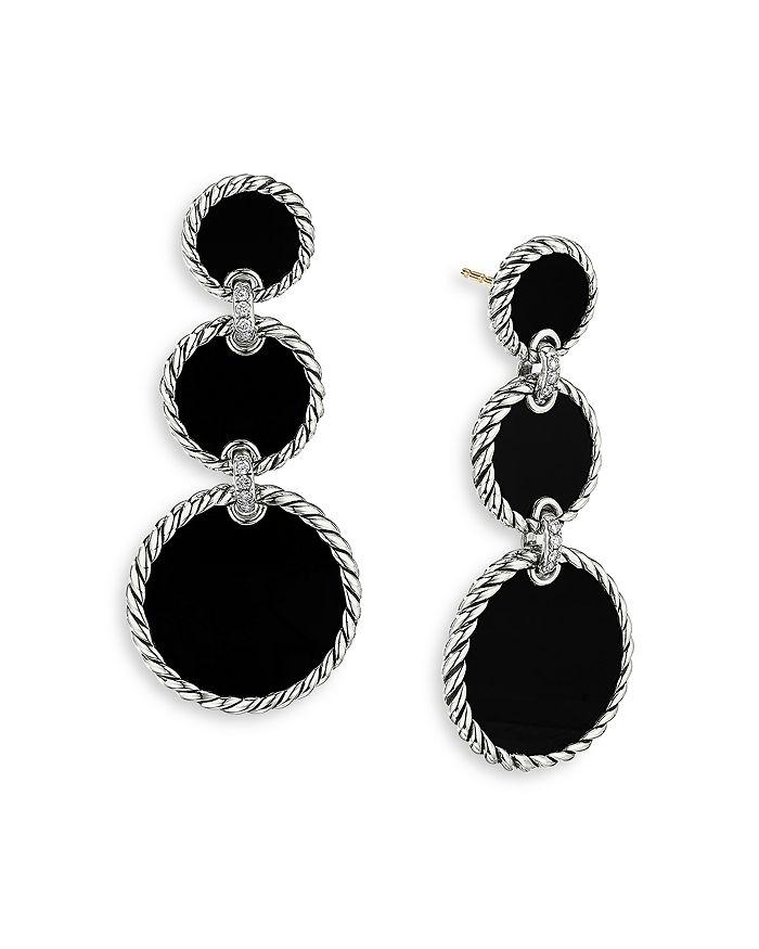 David Yurman - Sterling Silver DY Elements® Triple Drop Earrings with Black Onyx & Diamonds