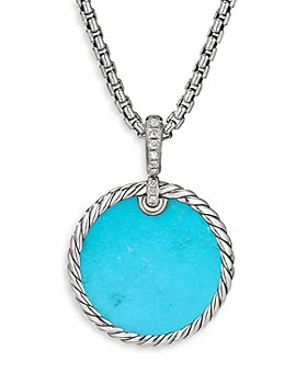 David Yurman - Sterling Silver DY Elements® Disc Pendant with Turquoise, Mother-of-Pearl & Diamonds