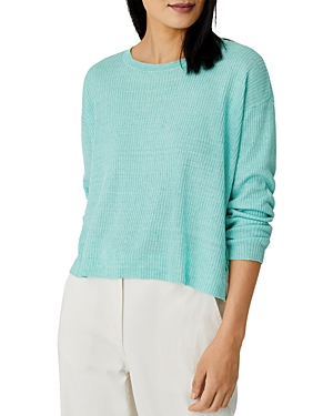 Eileen Fisher CROPPED RIBBED LINEN SWEATER