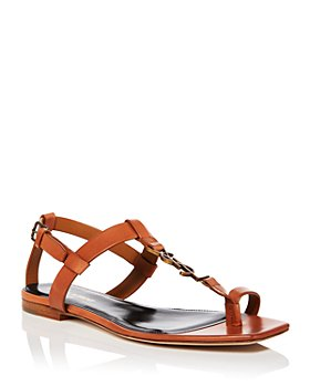 Saint Laurent - Women's Cassandra Square Toe Logo Leather Sandals