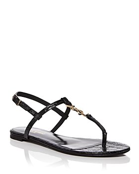 Saint Laurent - Women's Cassandra Croc Embossed Thong Sandals