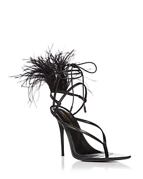 Saint Laurent - Women's Instinct Pointed Toe Feather Trim High Heel Thong Sandals