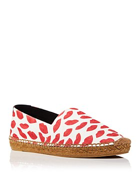 Saint Laurent - Women's Lip Print Canvas Espadrille Flats