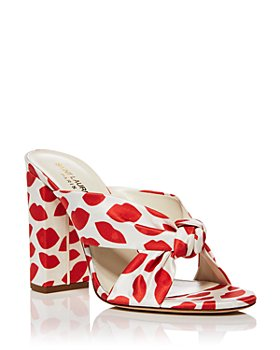 Saint Laurent - Women's Bianca Lip Print Knotted Cotton High Heel Sandals