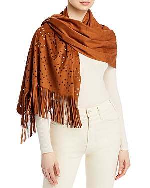 Faux Suede Wrap with Fringe