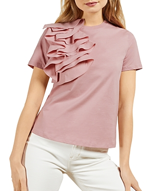 Ted Baker Cottons RUFFLED RELAXED CREWNECK TEE