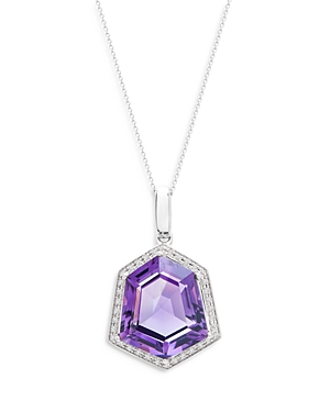 Bloomingdale's Amethyst & Diamond Halo Pendant Necklace in 14k White Gold, 18 - 100% Exclusive