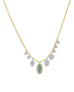 Meira T Blue Topaz & Diamond Drop Necklace In 14k Yellow & White Gold, 18