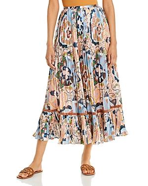 See by Chloe Pleated Metallic Print Skirt
