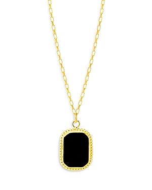 Maison Irem Onyx Dog Tag Pendant Necklace, 23-25L