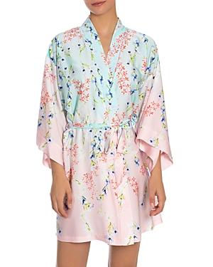 Satin Ombre Floral Print Wrap Robe