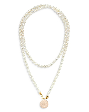 Coin & Cultured Freshwater Pearl Long Pendant Necklace