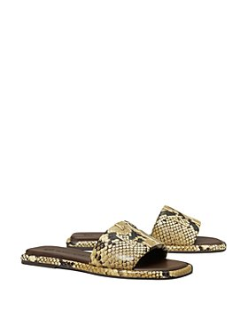 Tory Burch - Women's T Monogram Embossed Leather Slide Sandals
