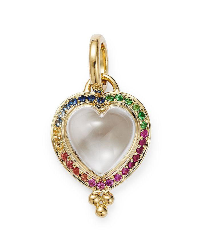 Temple St. Clair - 18K Yellow Gold Rock Crystal Heart & Rainbow Sapphire Pendant