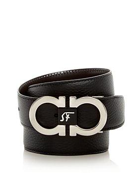 Salvatore Ferragamo - Men's Double Gancini Buckle Leather Belt