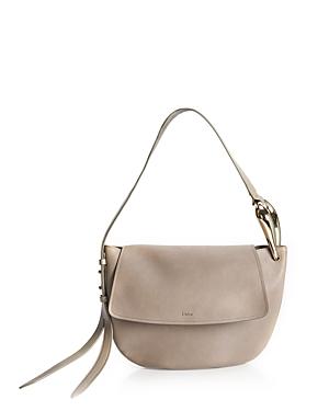 Chloé Kiss Leather Tonal Hobo Bag In Gray