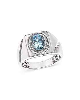 Bloomingdale's - Aquamarine & Diamond Men's Ring in 14K White Gold - 100% Exclusive