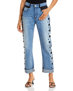 Tucker Embellished Boyfriend Jeans in Medium Wash