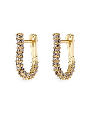 Riviera Pave U Shape Hoop Earrings