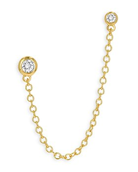 Moon & Meadow - Diamond Stud Chain Ear Climber in 14K Yellow Gold - 100% Exclusive