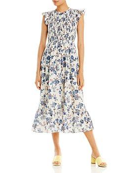 AQUA - Floral Print Smocked Flutter Sleeve Dress - 100% Exclusive