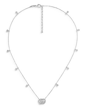 "Gucci - 18K White Gold GG Running Chain Diamond Necklace, 14.5-16.5"""