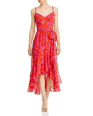 Side Tie Floral Chiffon Midi Dress