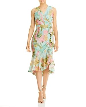 Sleeveless Flutter Hem Floral Dress