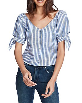 1.STATE - Striped Tied Cuff Blouse