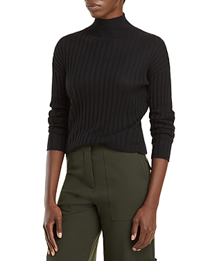 Ribbed Mock Neck Cashmere Sweater