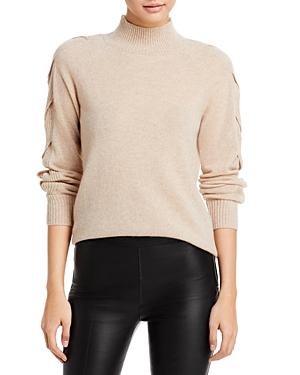 Braided Trim Mock Neck Cashmere Sweater