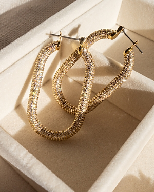 Amber Pave Oval Hoop Earrings in Gold Tone