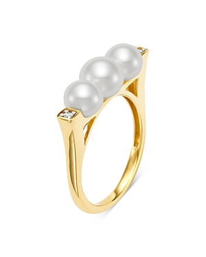 18K Yellow Gold Cultured Freshwater Pearl and Diamond Deco Ring