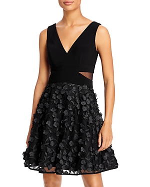 Floral-Applique Fit-and-Flare Dress